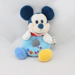Doudou hochet Mickey bleu jaune DISNEY