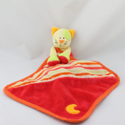 Doudou plat chat rouge vert jaune orange mouchoir BABY LUNA