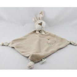 Doudou plat chien beige blanc rayé kaki fleur CA CREDIT AGRICOLE