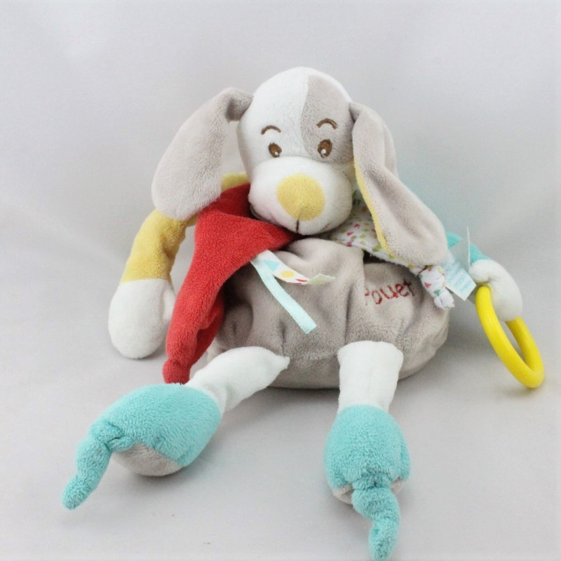 Doudou pantin d'activités chien gris jaune rouge bleu BABY NAT