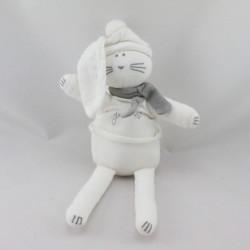 Doudou Lapin blanc gris PETIT BATEAU