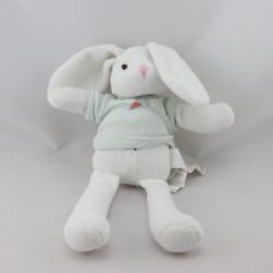 Doudou lapin blanc bleu carotte IDEAL PROMOTION