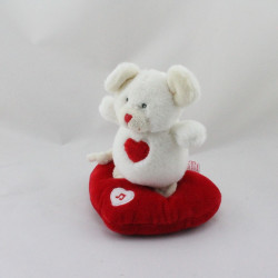 Doudou sonore souris blanche coeur rouge GIPSY