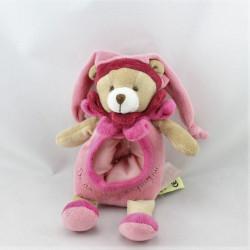 Doudou et compagnie ours arlequin col fleur rose