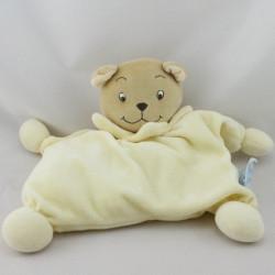 Doudou semi plat ours beige jaune KING BEAR