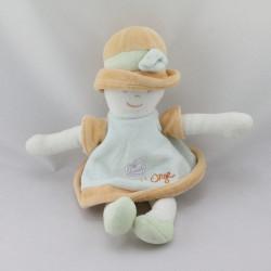 Doudou poupée fille verte orange Sucre d'orge