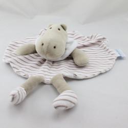 Doudou plat hippopotame beige blanc rose LES BEBES D'ELYSEA