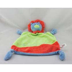 Doudou plat lion bleu vert rouge TENDERTOYS