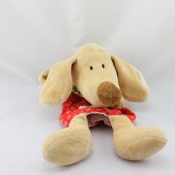 Doudou plat marionnette chien beige rouge SIGIKID