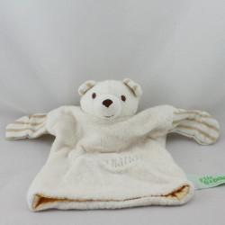 Doudou plat marionnette ours blanc beige P'TIT BIDOU