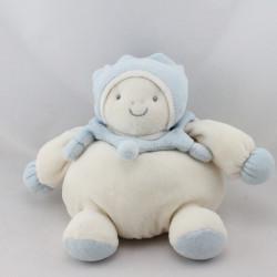 Doudou boule lutin arlequin blanc bleu PRISCILLA LARSEN