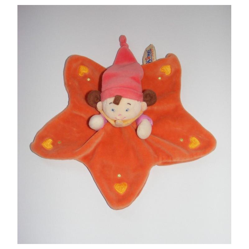 Doudou plat étoile lutin fille orange rose NICOTOY