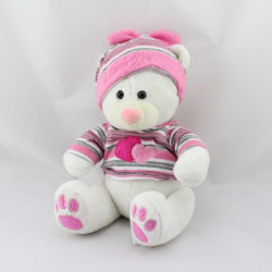 Doudou ours blanc rose gris rayé coeurs FUN TOYS