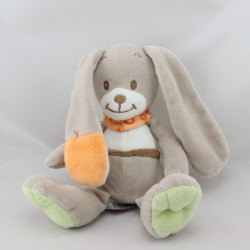 Doudou lapin beige vert orange INFLUX