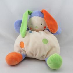 Doudou boule lapin arlequin blanc bleu vert orange NOUNOURS