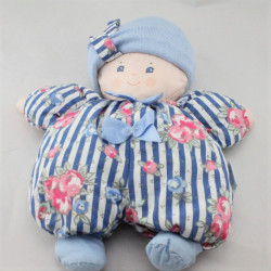 Ancienne poupée chiffon bleu rayé fleurs COROLLE 1995