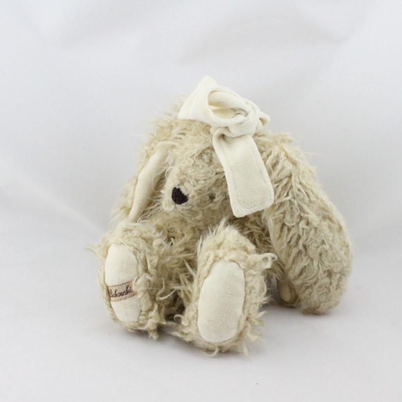 Peluche lapin beige noeud blanc BUKOWSKI