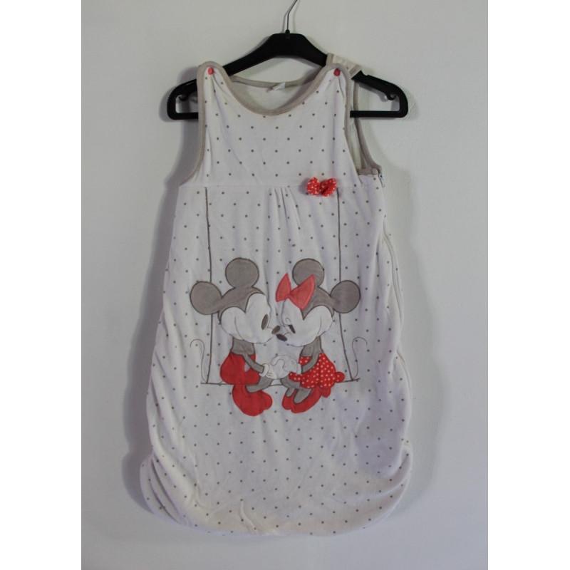 Gigoteuse velours blanche pois sans manches Mickey et Minnie DISNEY