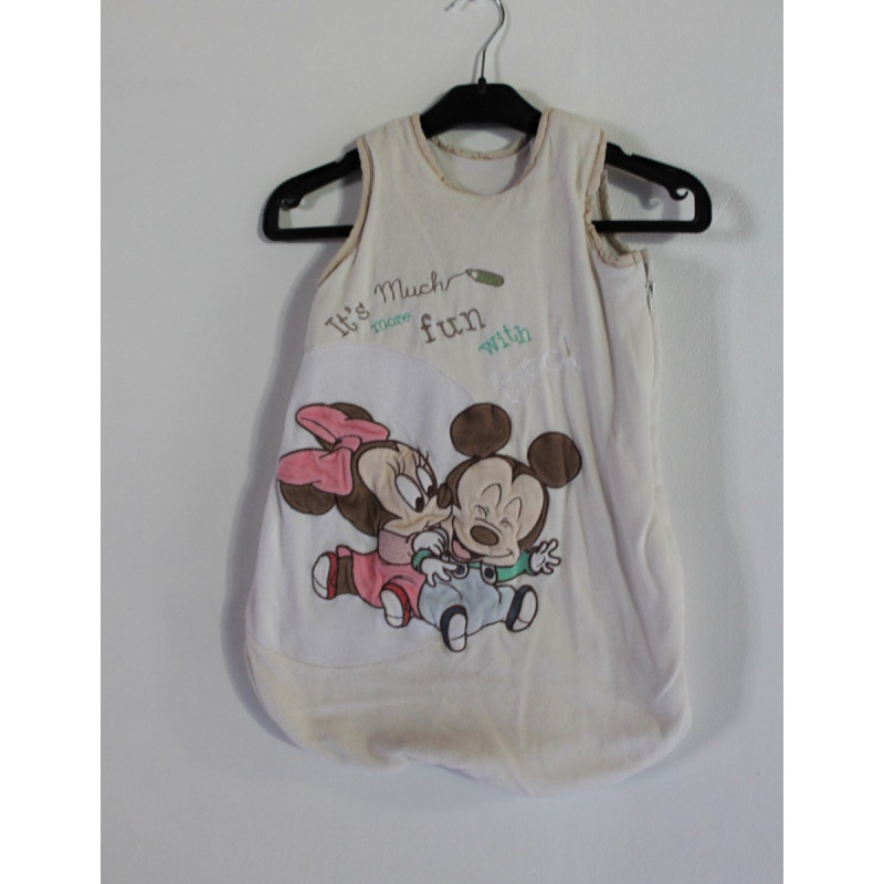 Gigoteuse velours blanche sans manches Mickey et Minnie DISNEY