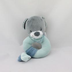 Doudou hochet ours gris bleu Jules NATTOU