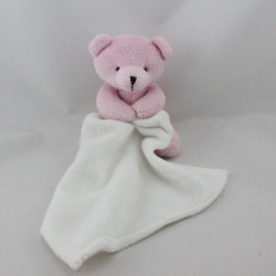 Doudou ours rose mouchoir