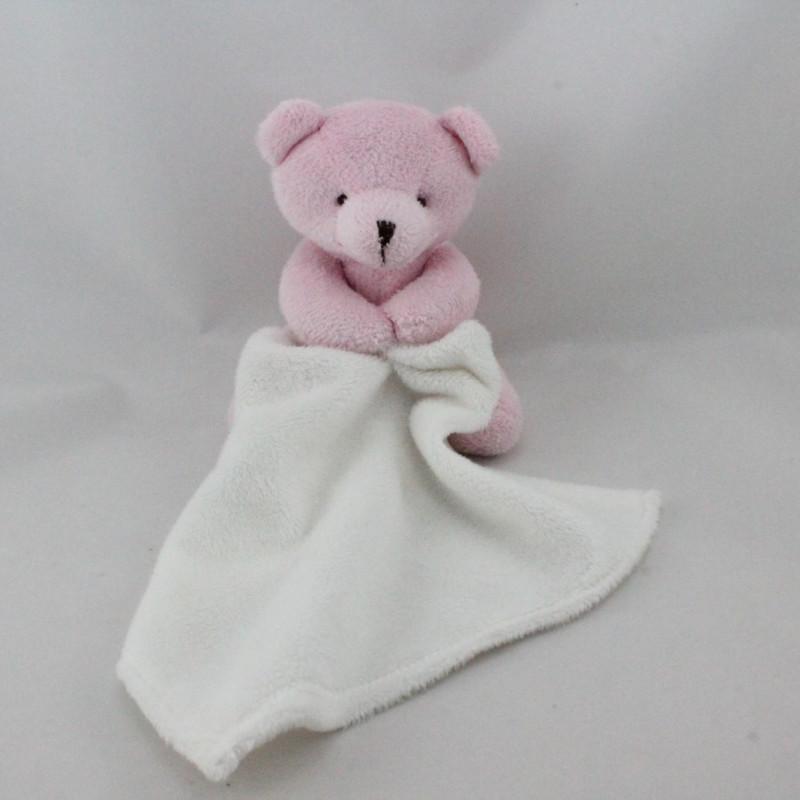 Doudou ours rose mouchoir