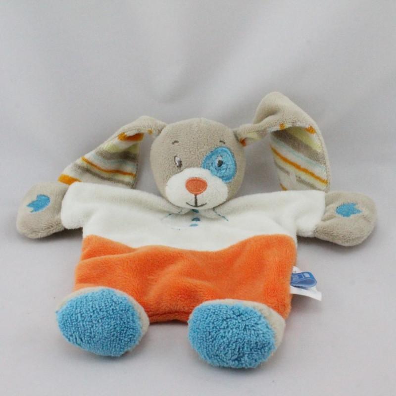 Doudou plat lapin beige blanc orange bleu TEX