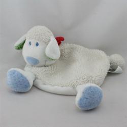 Doudou plat mouton blanc bandanas rouge imprimé fleur TEX
