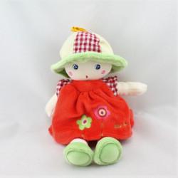 Doudou poupée rouge verte fleurs QUE DU BONHEUR