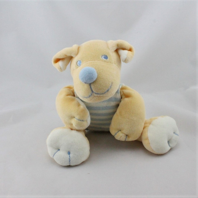 Doudou chien écru orange bleu JOLLYBABY 23 cm