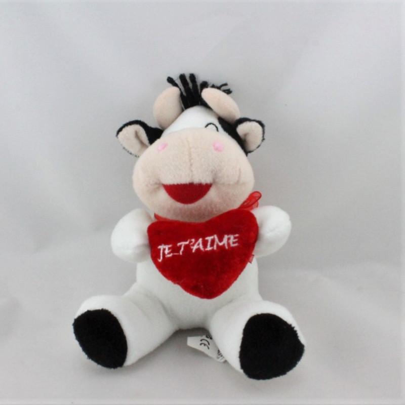 Doudou vache blanche noir coeur rouge ELUZ