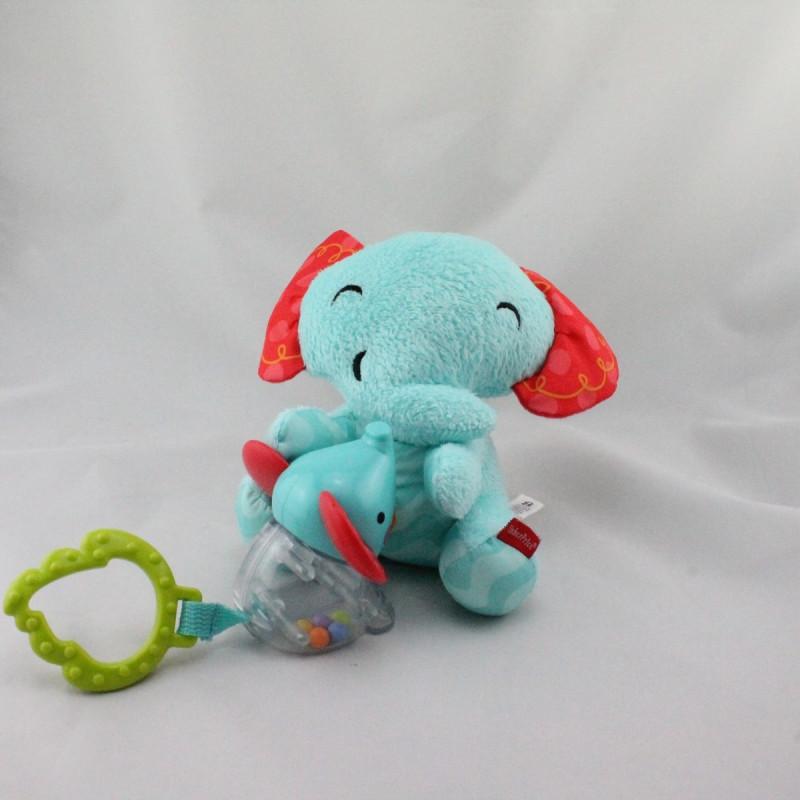 Doudou vibrant éléphant vert rouge hochet FISHER PRICE