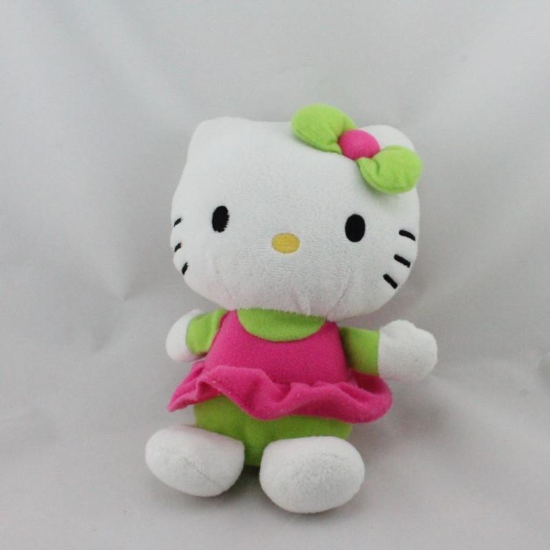 Peluche chat HELLO KITTY vert rose SANRIO LICENSE