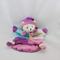 Doudou et compagnie marionnette chat rose violet bleu tipi