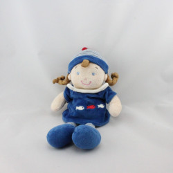 Doudou poupée fille marin bleu poissons MOTS D'ENFANTS