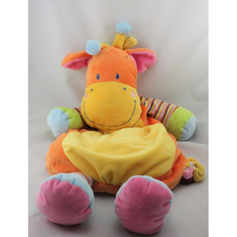 Doudou range pyjama girafe orange jaune rayures NICOTOY