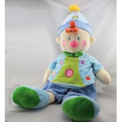 Grand Doudou clown bleu vert NICOTOY 43 cm