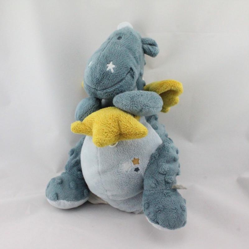 Doudou musical dragon bleu étoiles Victor et Lucien NOUKIE'S