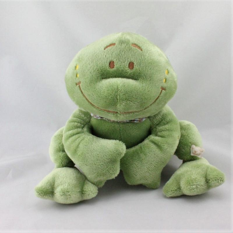 Doudou grenouille verte foulard rayé NOUKIE'S