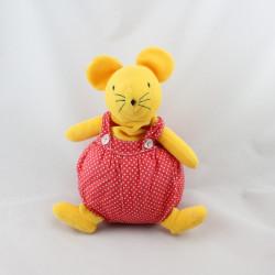 Doudou musical souris boule jaune rouge pois SUCRE D'ORGE