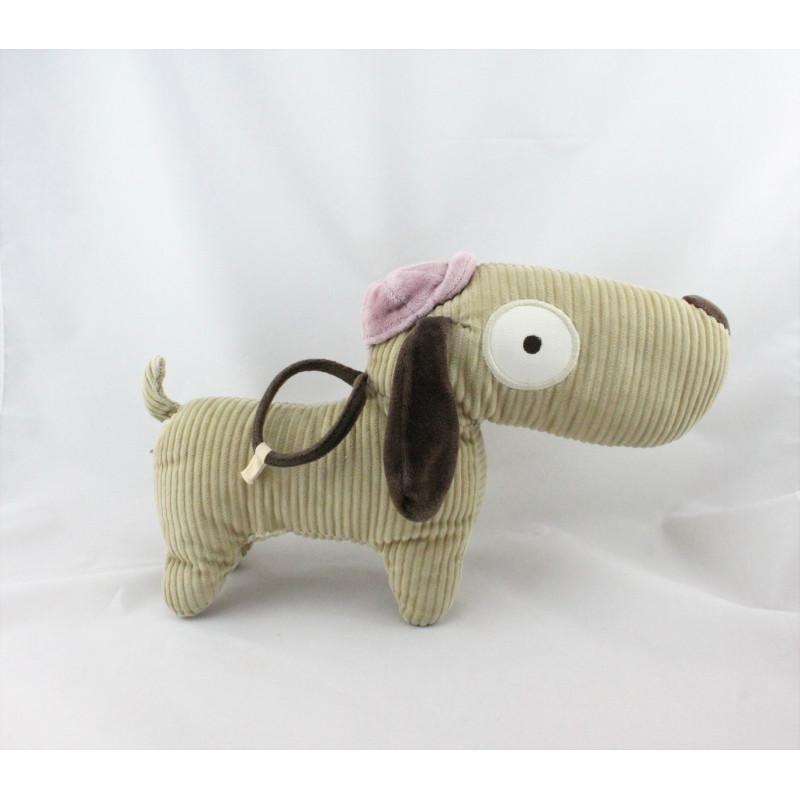 Doudou chien beige marron velours DPAM DU PAREIL AU MEME