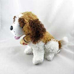 Doudou chien Saint Bernard blanc beige marron tonneau