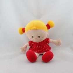 Doudou poupée rouge rose pois MINIMI