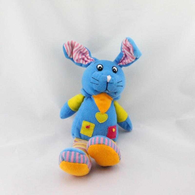 Doudou lapin bleu jaune rose orange FIZZY