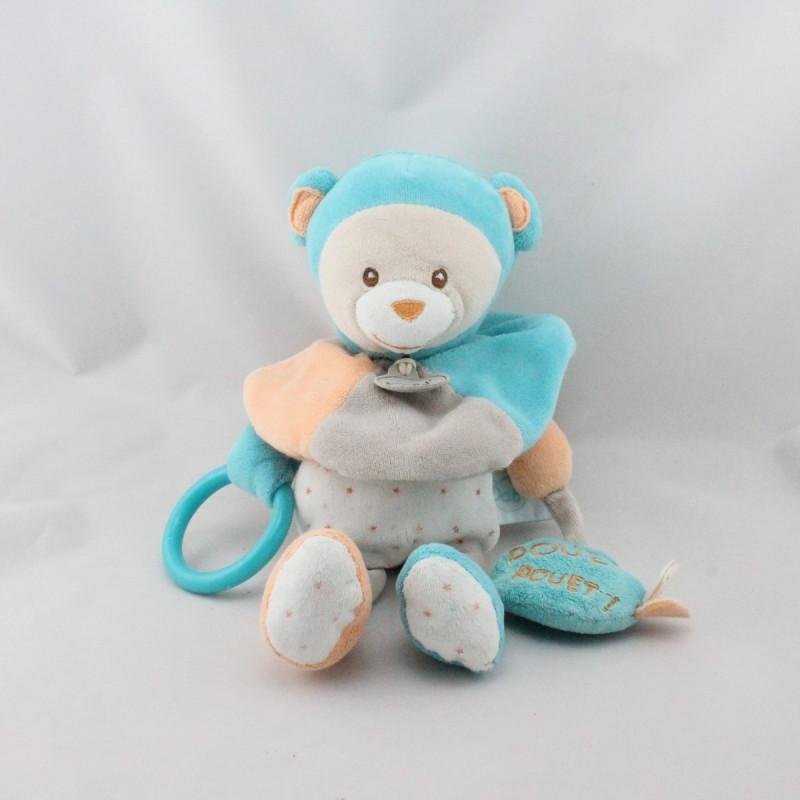 Doudou ours bleu orange gris étoiles hochet BABY NAT