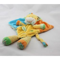 Doudou plat girafe jaune orange bleu vert feuille NICOTOY