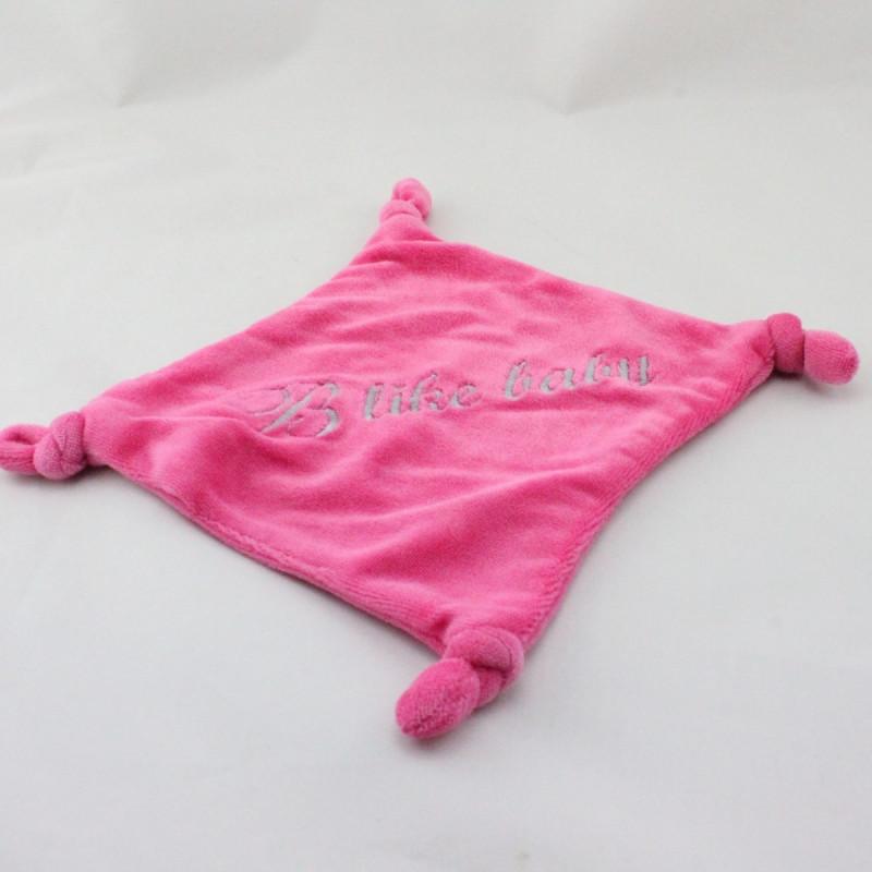 Doudou plat carré rose B LIKE BABY
