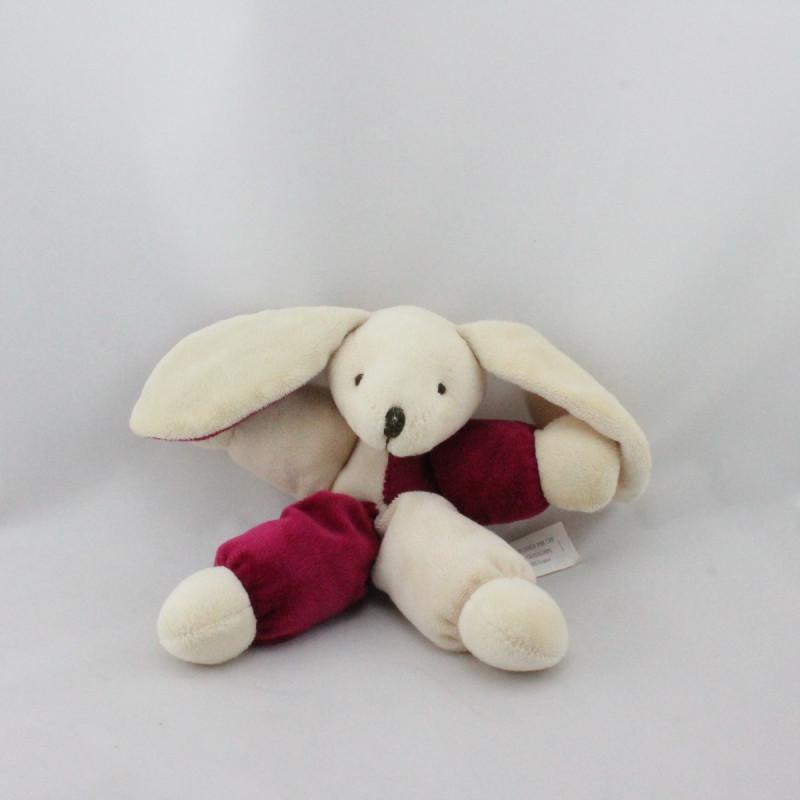 Doudou pantin lapin blanc rose CMP