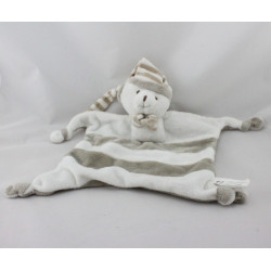 Doudou plat ours blanc gris rayé IDEAL PROMOTION