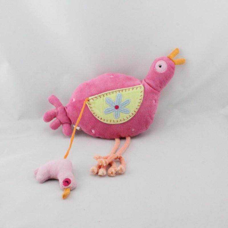 Doudou oiseau poule rose JALLA JUNIOR